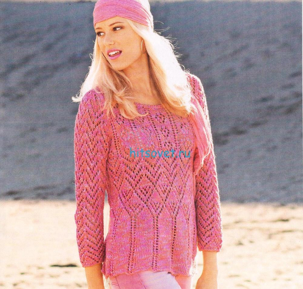 Узорчатый меланжевый пуловер
