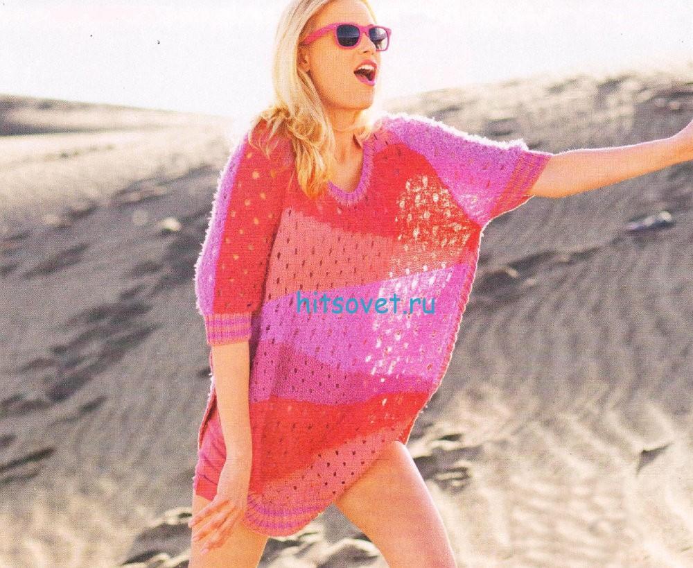 Коралловый пуловер спицами