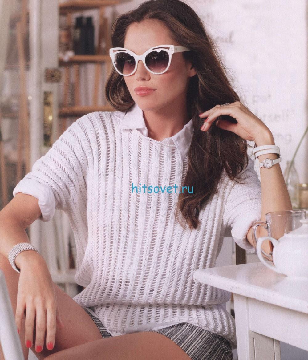 Белый вязаный пуловер описание