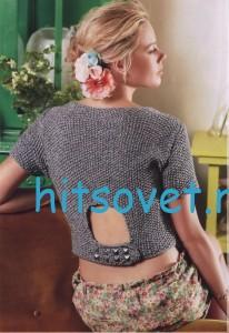 Вязание пуловера с шарфом, фото 2.