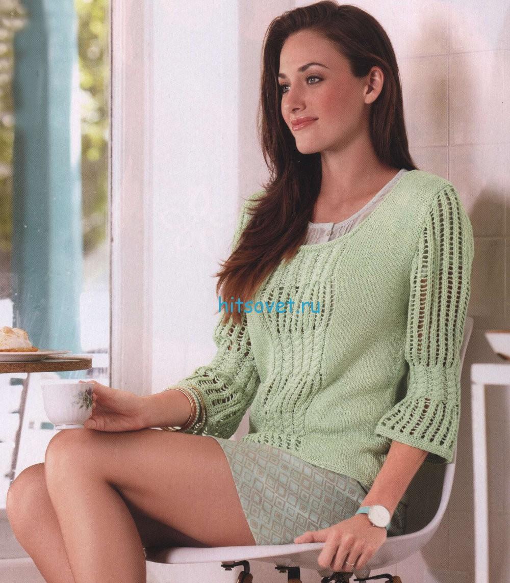 Вязание женского пуловер спицами