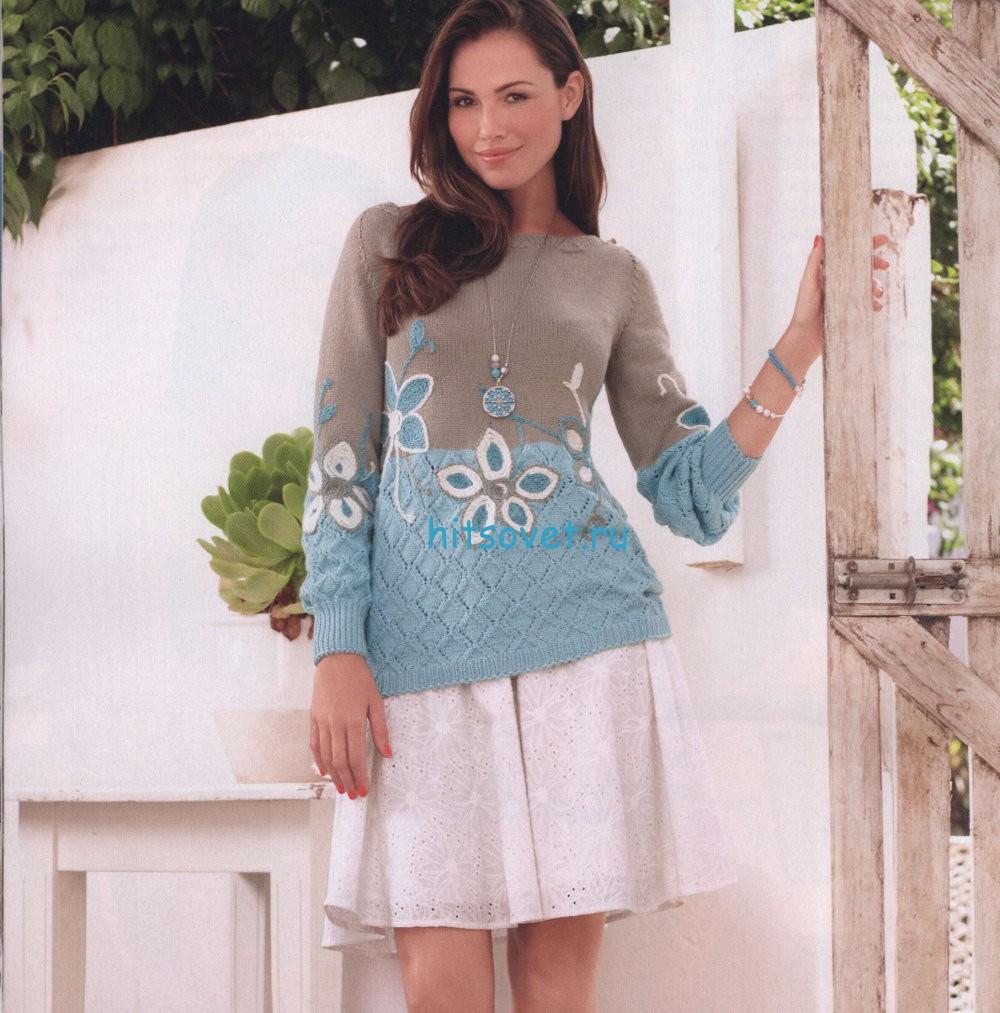 Вязание модного пуловера с цветами