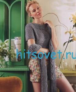 Вязаный пуловер с шарфом