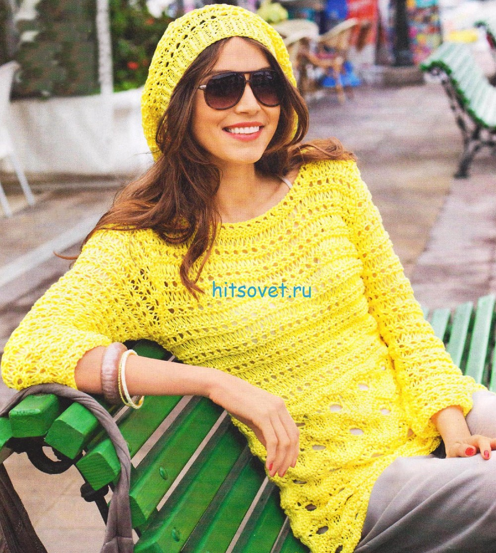 Вязание пуловера и шапочки, фото.