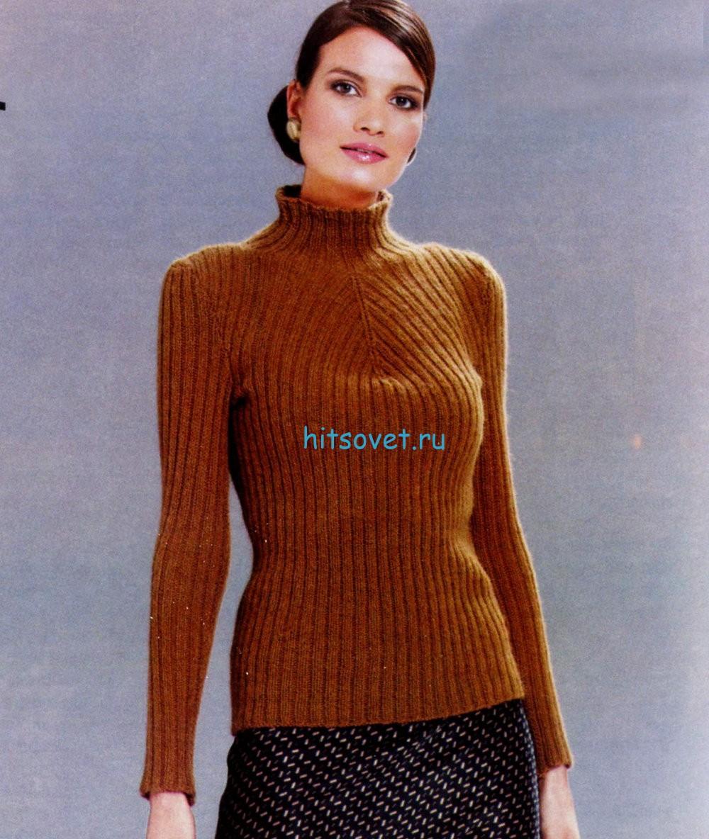 Вязание женского свитера с диагональным узором, фото.