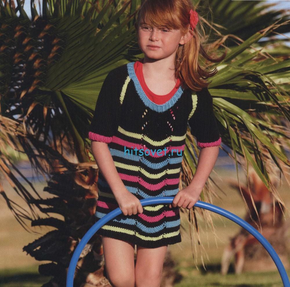 Вязание для девочки полосатой туники