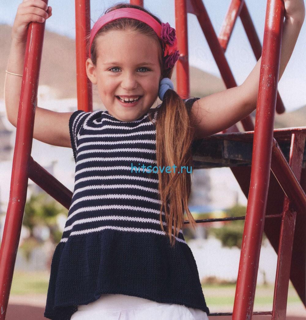 Вязание для девочки туники в полоску