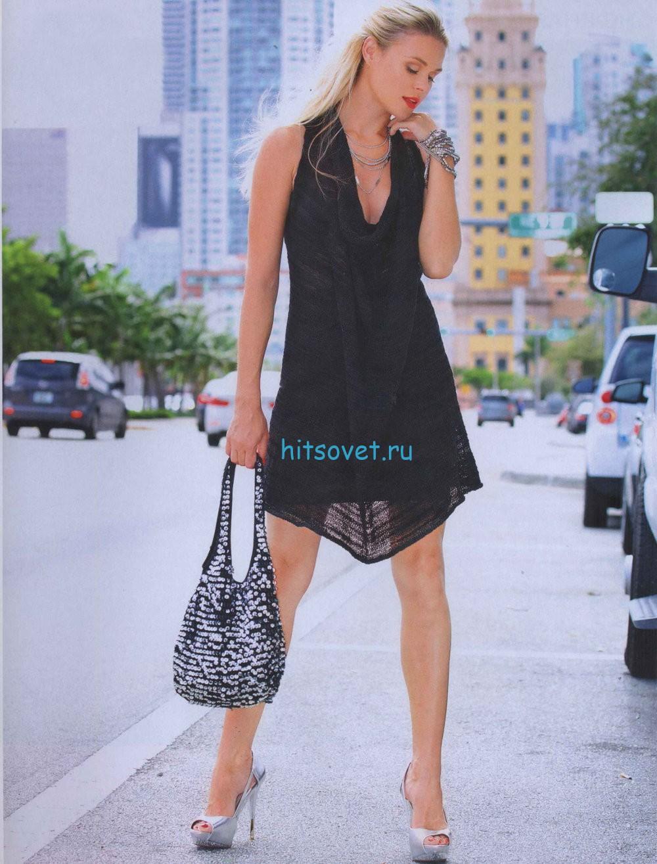 Черное платье спицами