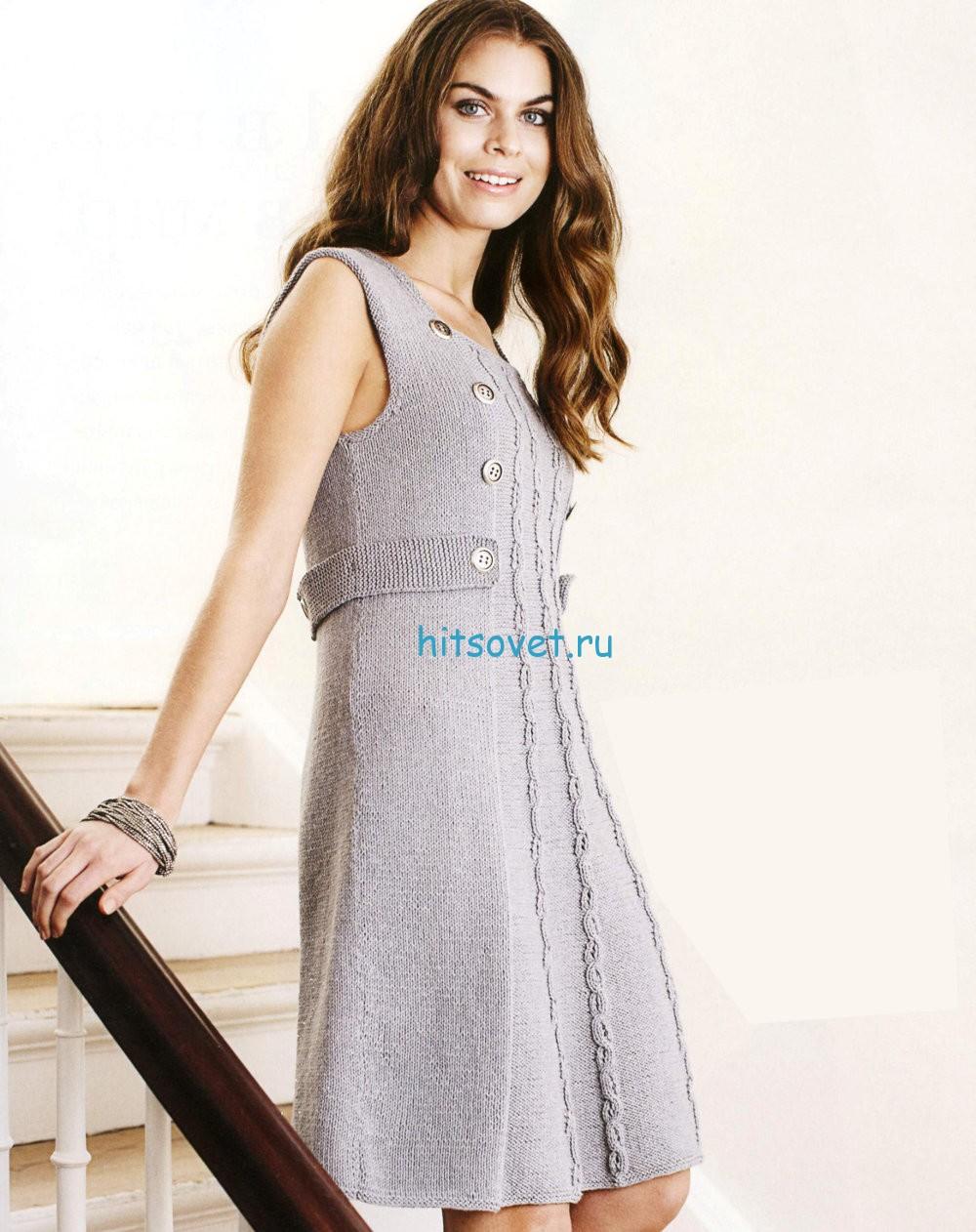 Вязаное платье на круговых спицах, фото.