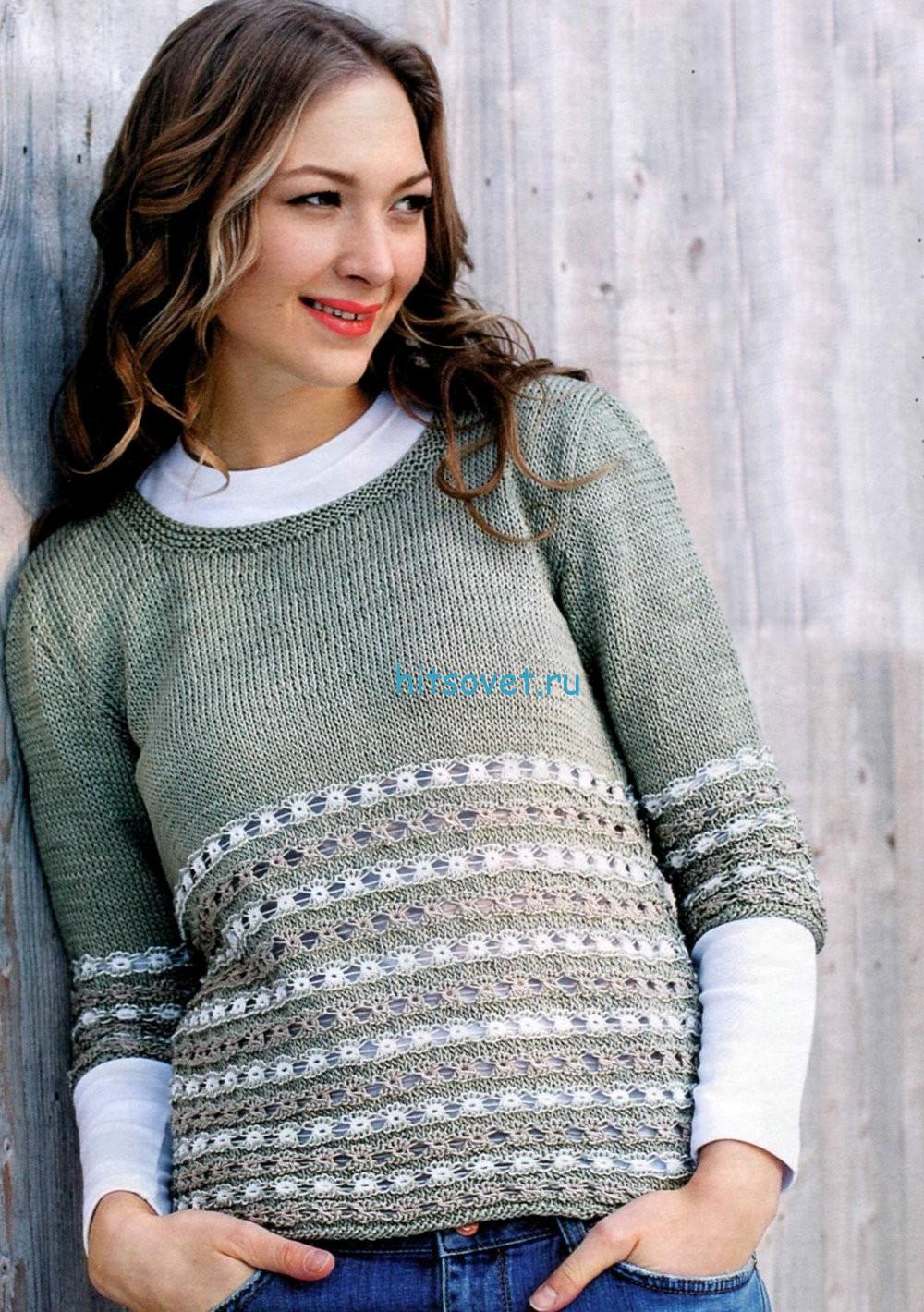 Ажурный пуловер  с полосками