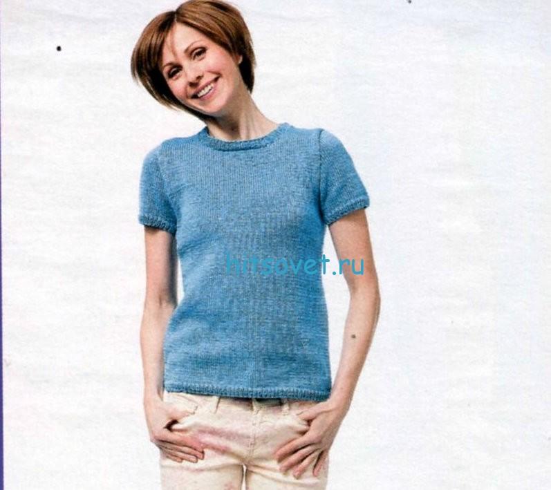Вязание простого пуловера с короткими рукавами