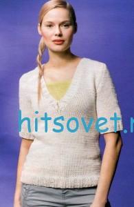 Вязание спицами пуловера с V-образным вырезом