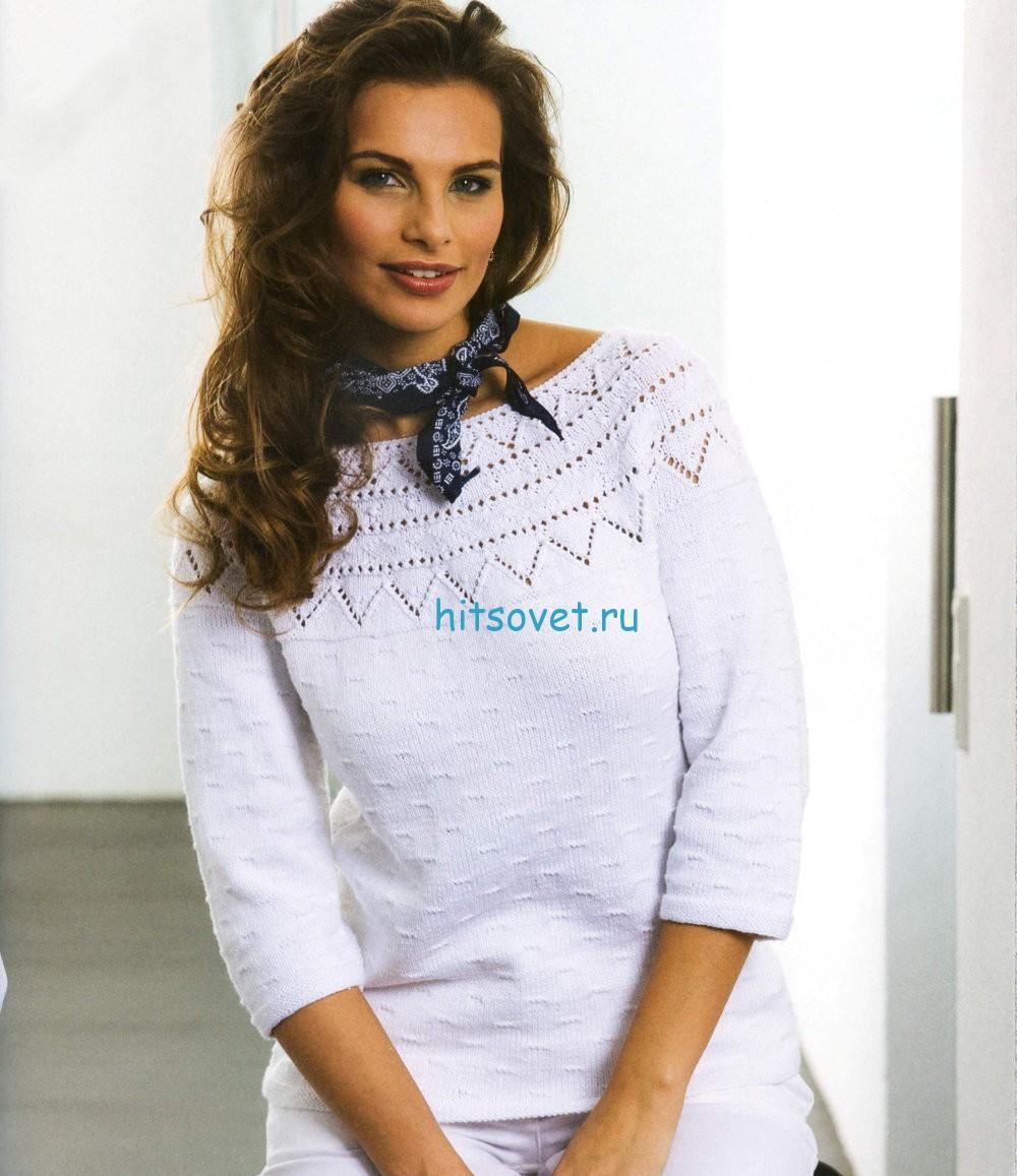 Вязание пуловера с ажурной кокеткой