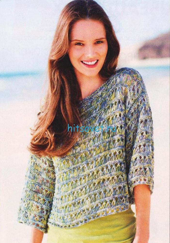 Свободный меланжевый пуловер спицами