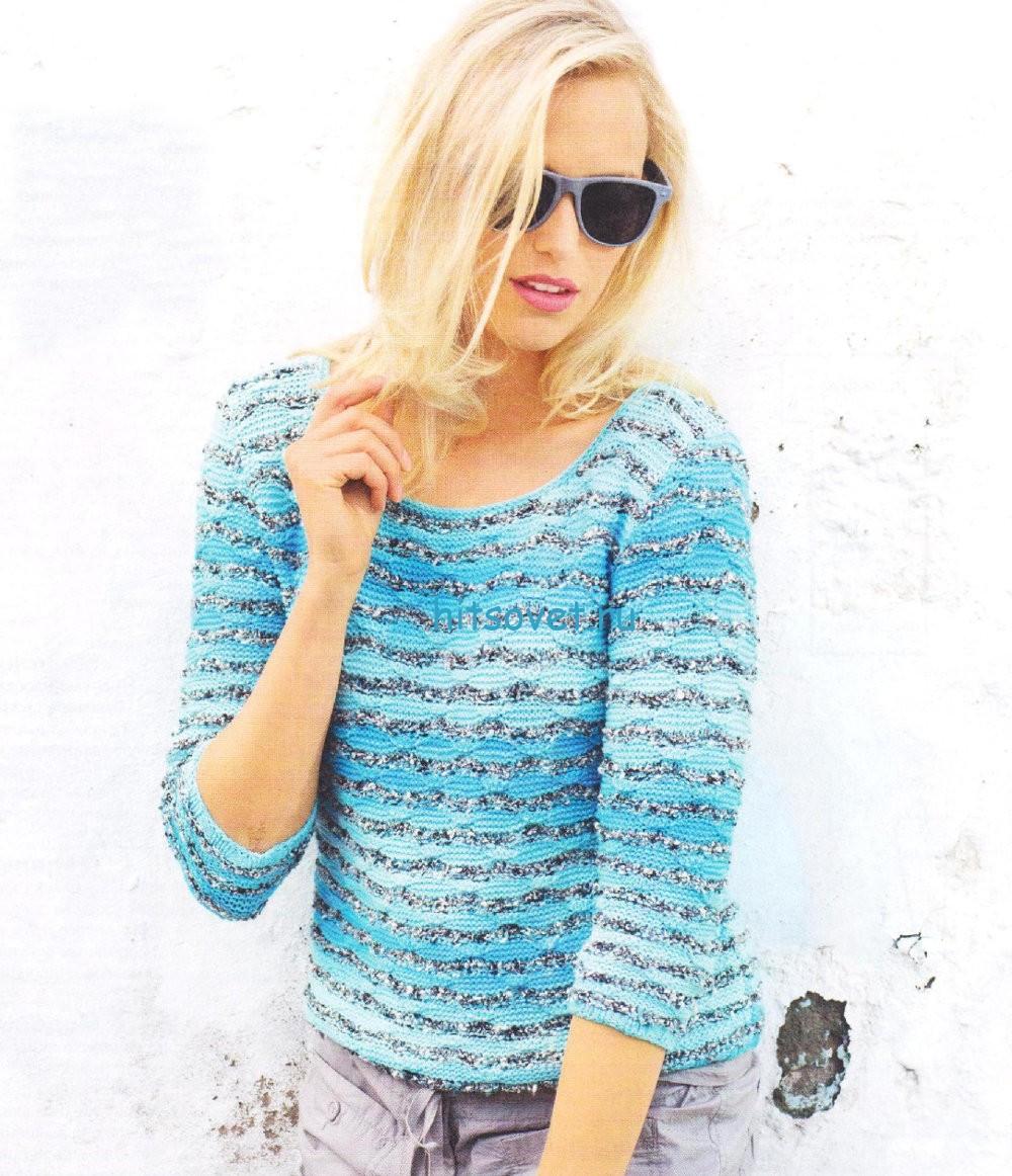 Полосатый пуловер из секционной пряжи
