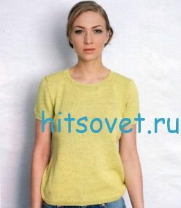Вязание простого пуловера с короткими рукавами, фото 2.
