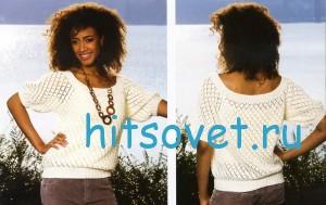 Вязание пуловера с ажурным узором. фото 2.