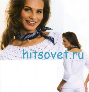 Вязание пуловера с ажурной кокеткой, фото 2.