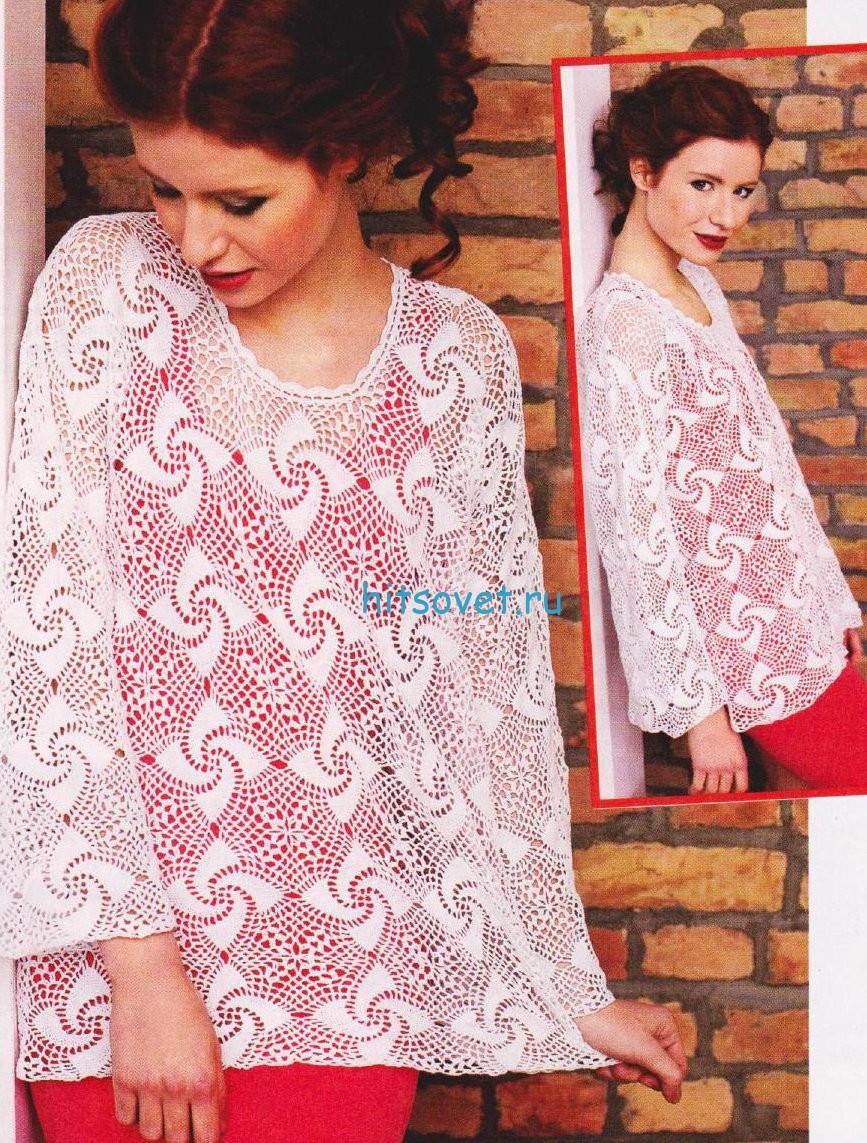 Вязание пуловера крючком с красивым узором, фото.