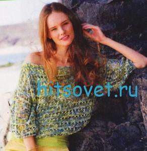 Свободный меланжевый пуловер спицами, фото 2.