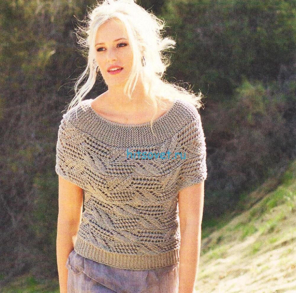 Вязание пуловера с короткими рукавами схема