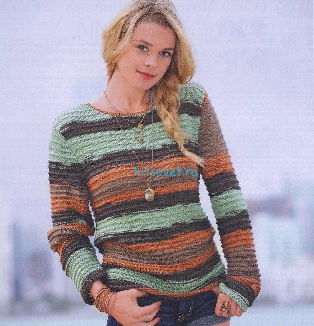 Полосатый пуловер с фантазийным узором