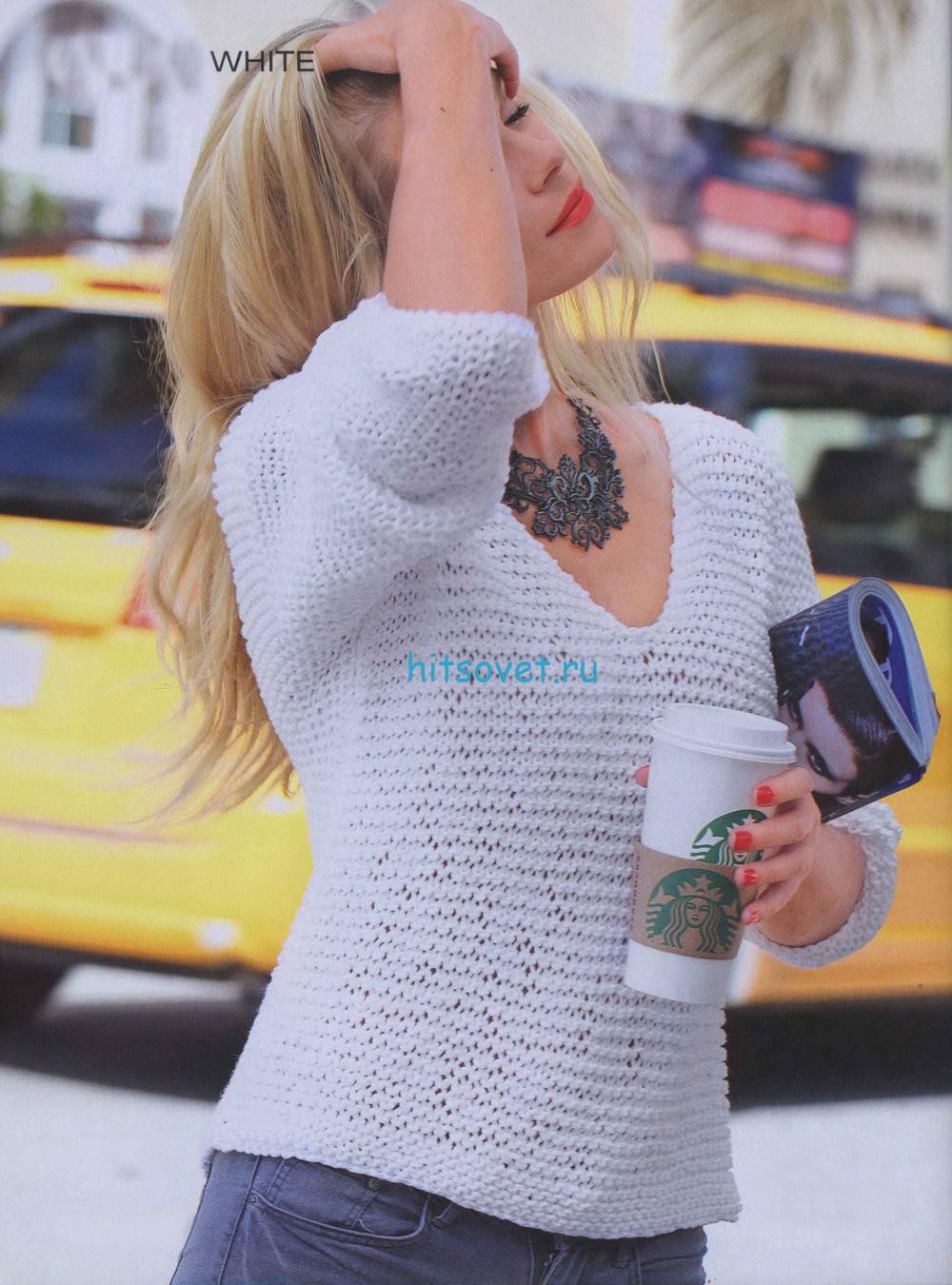 Белый пуловер для девушки