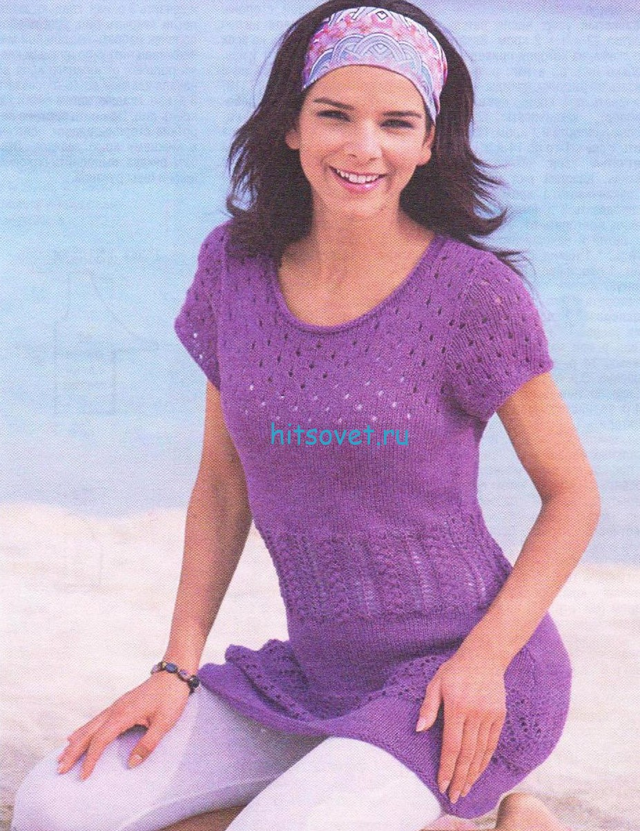 Вязание туники лилового цвета, фото.