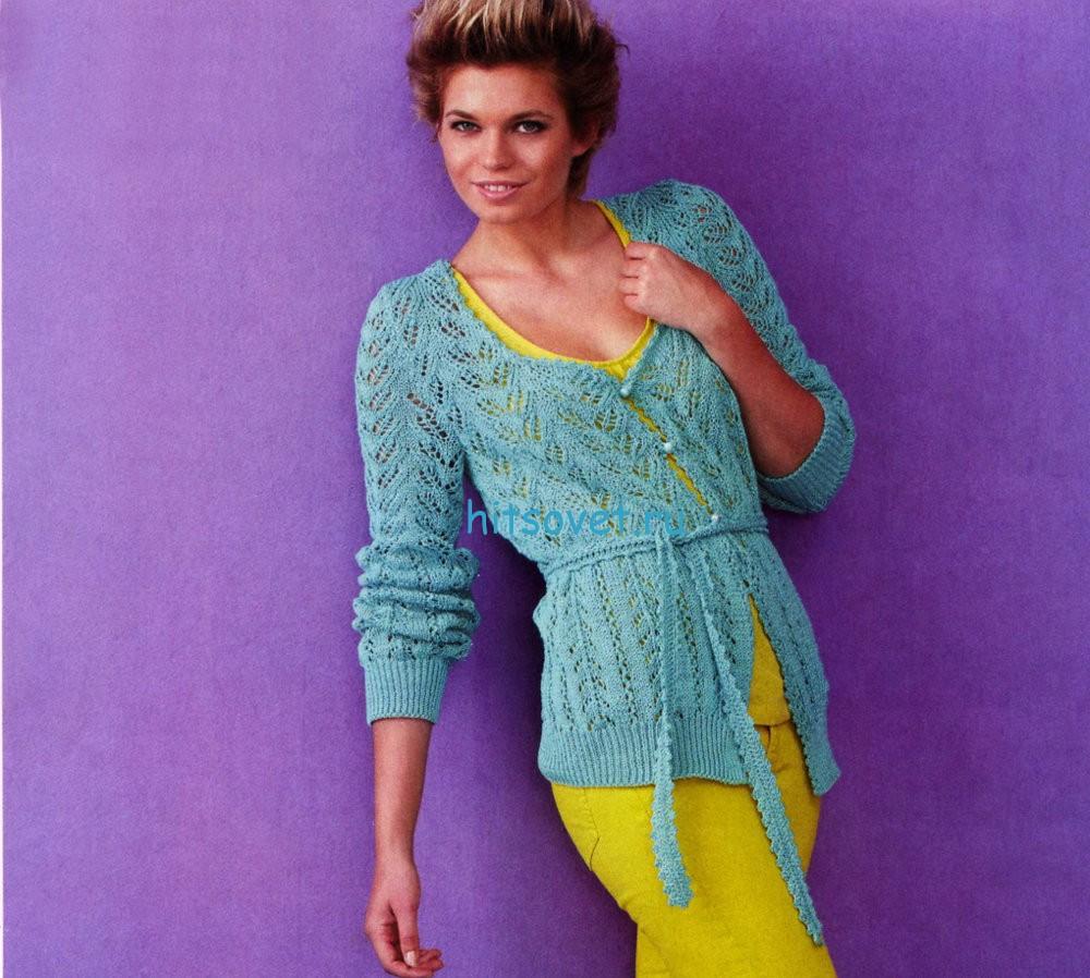 Вязание ажурного кардигана с поясом, фото.