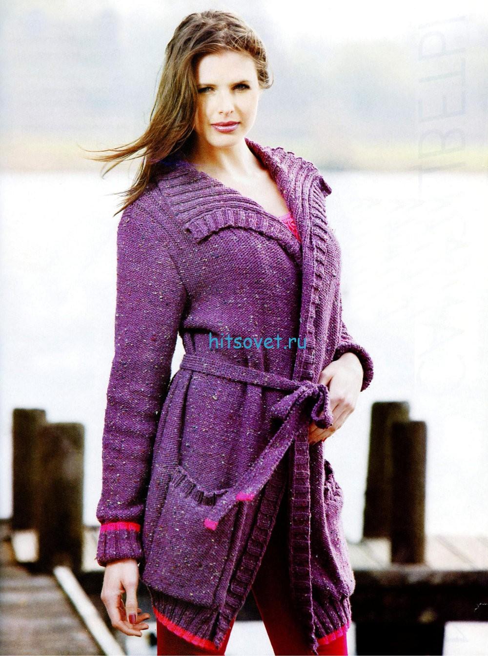 Вязание кардигана с поясом