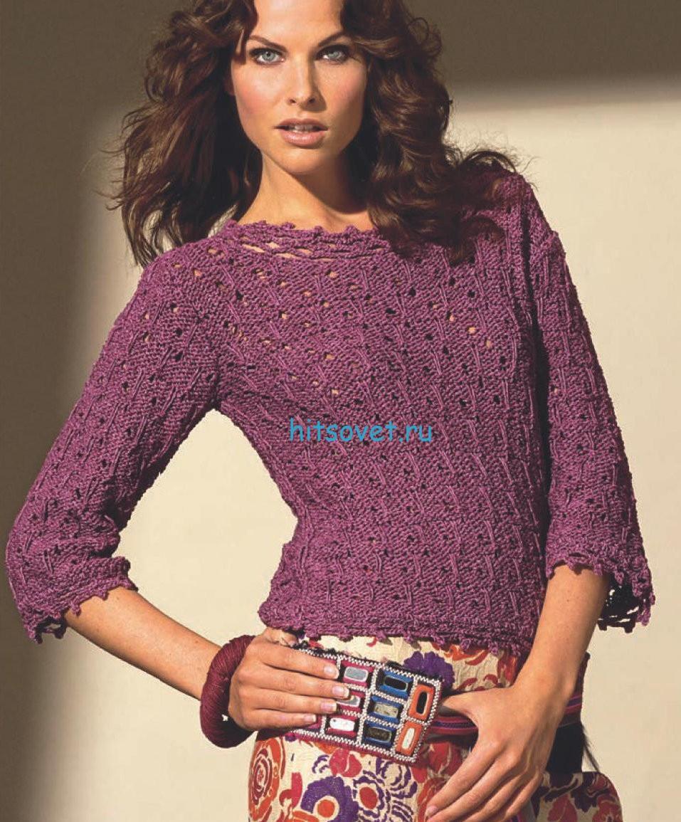 Модный вязаный пуловер
