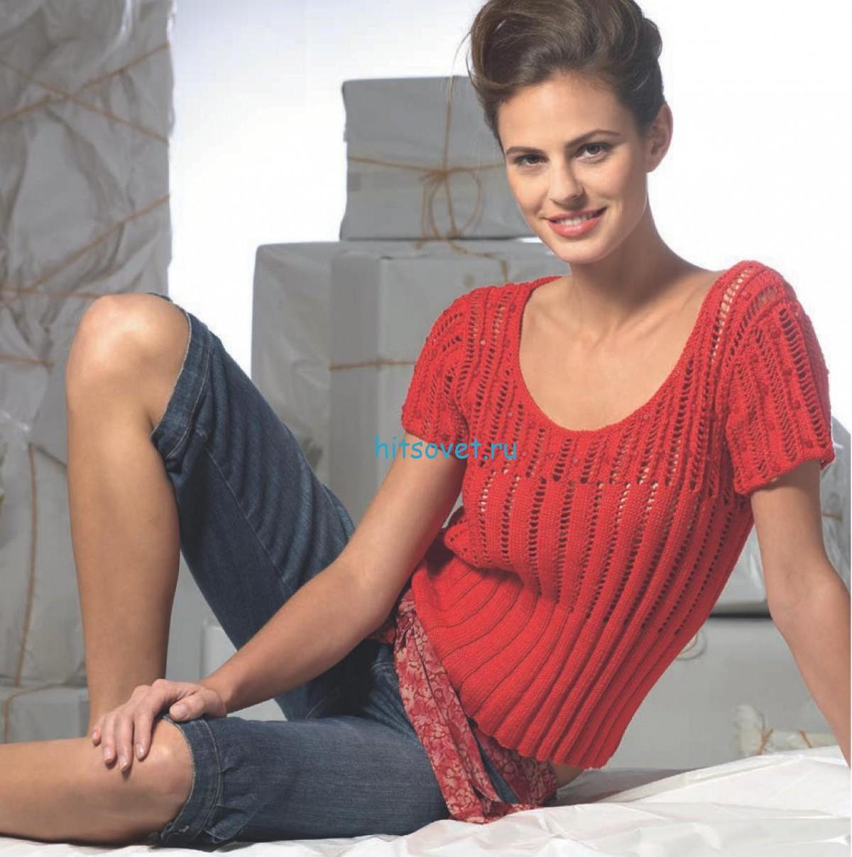 Вязание пуловера со стеклярусом