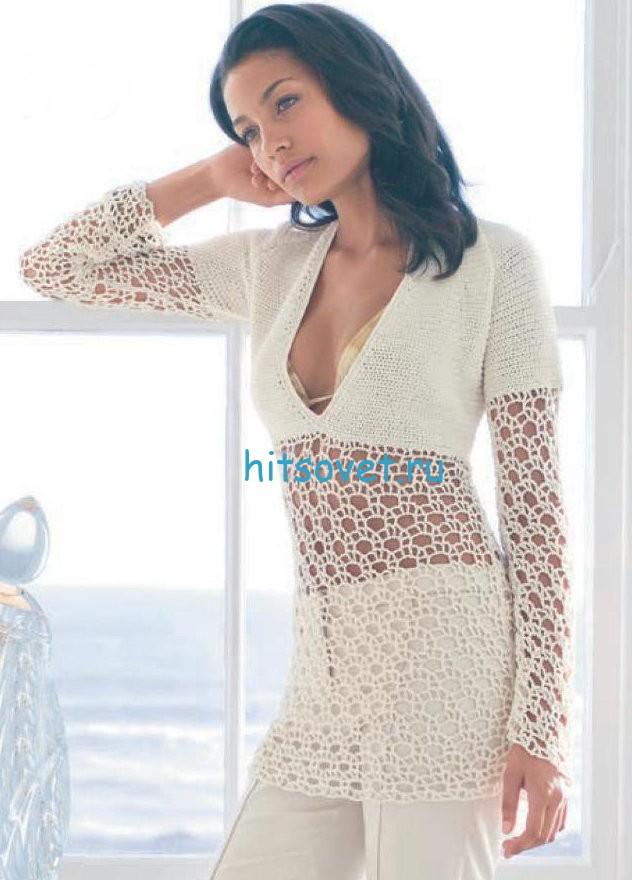 Белый пуловер крючком схема