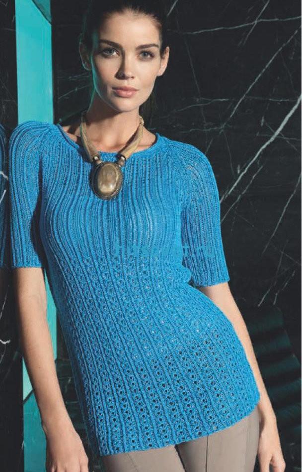 Вязаный удлиненный пуловер реглан