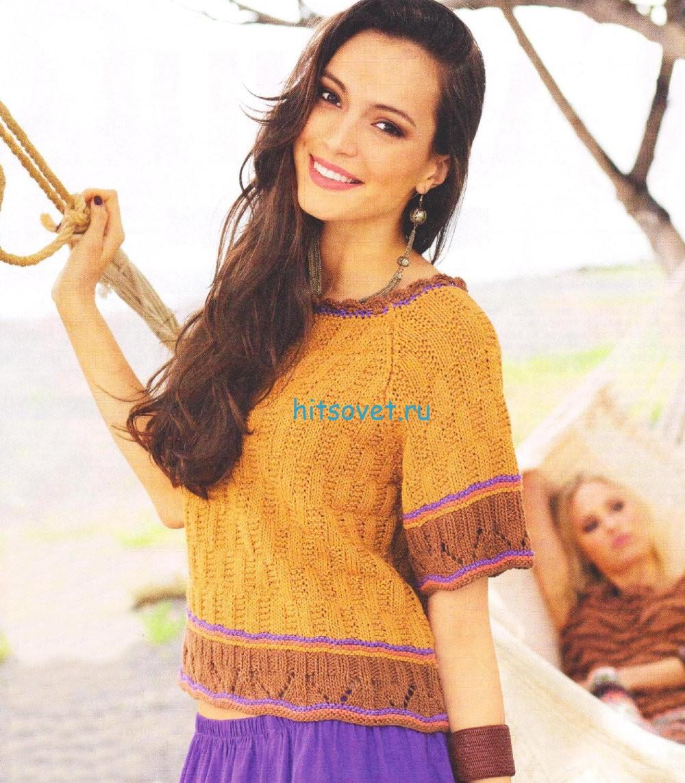 Вязаный пуловер реглан с рельефным узором