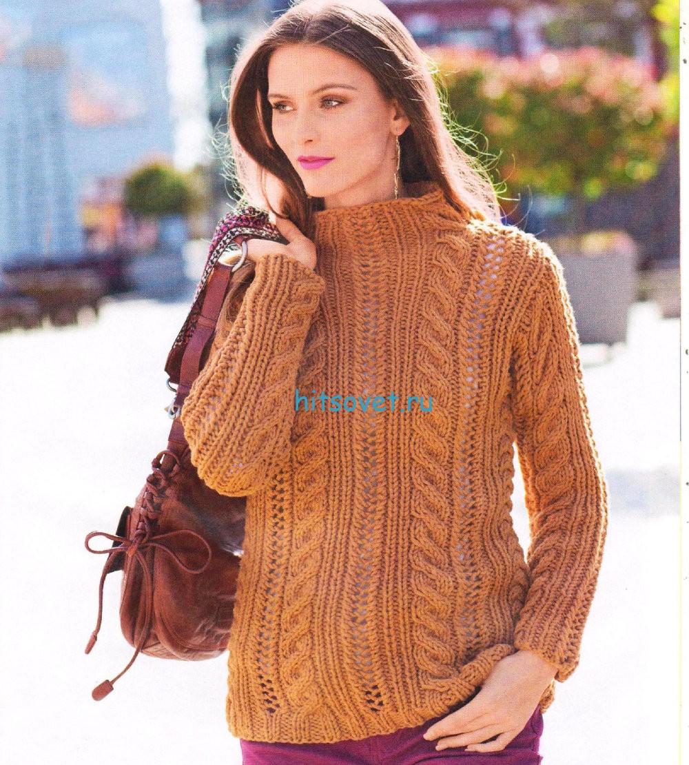 Вязание модного женского пуловера с косами