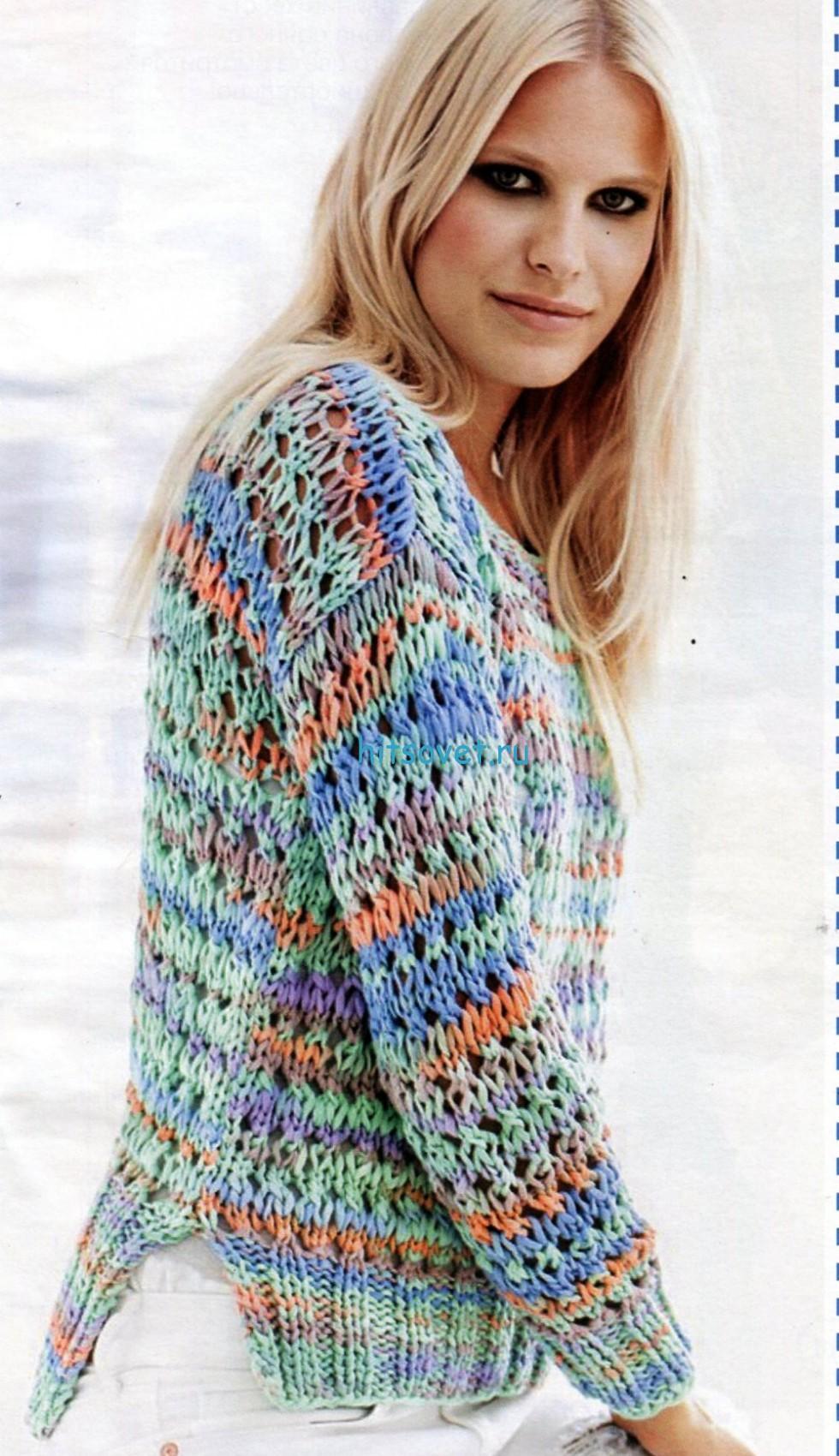 Вязание спицами ажурного пуловера