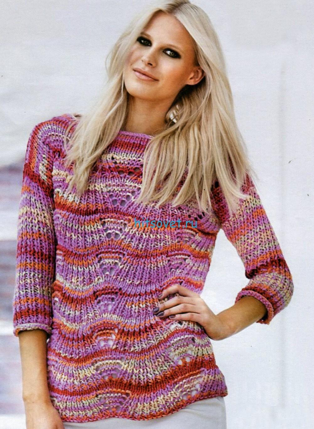 Меланжевый пуловер с описанием вязания