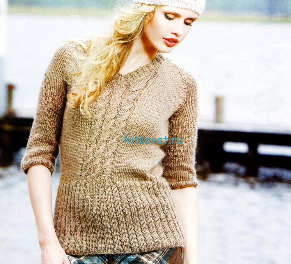 Вязание пуловера со жгутами