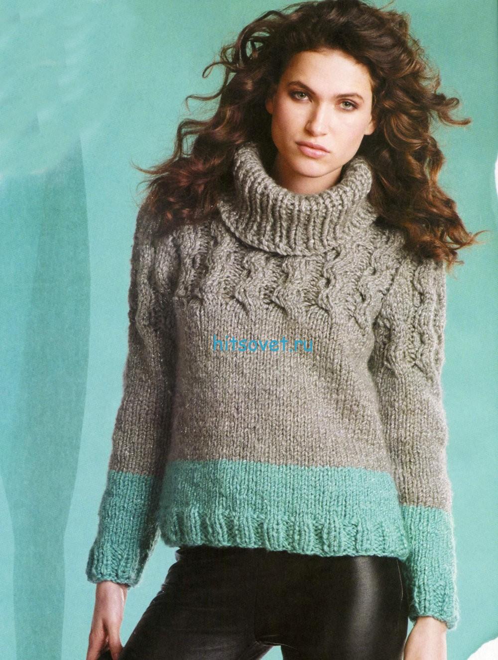 Женский свитер спицами серого цвета