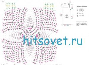 Вязание топа с цветочным мотивом, схема.