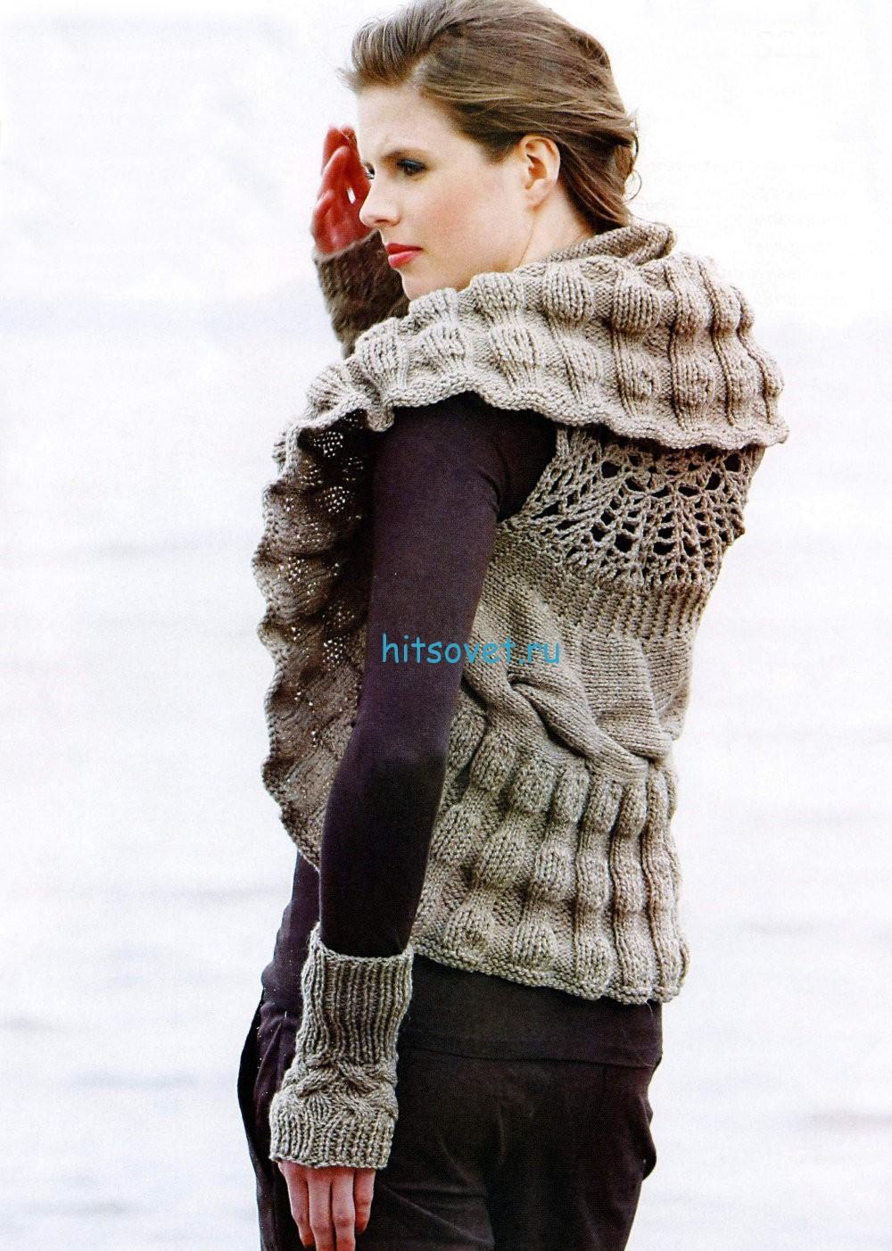 Вязание жилет спицами и митенки