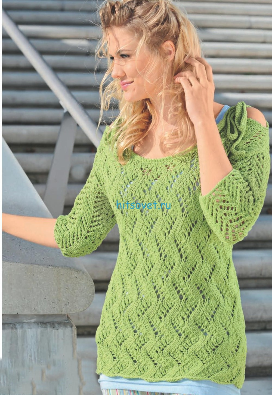 Ажурный пуловер с короткими рукавами схема