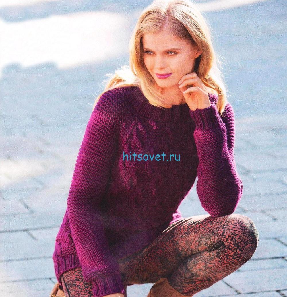 Вязаный пуловер реглан схема и описание