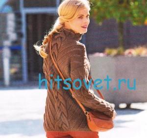 Вязание пуловера с косами коричневого цвета