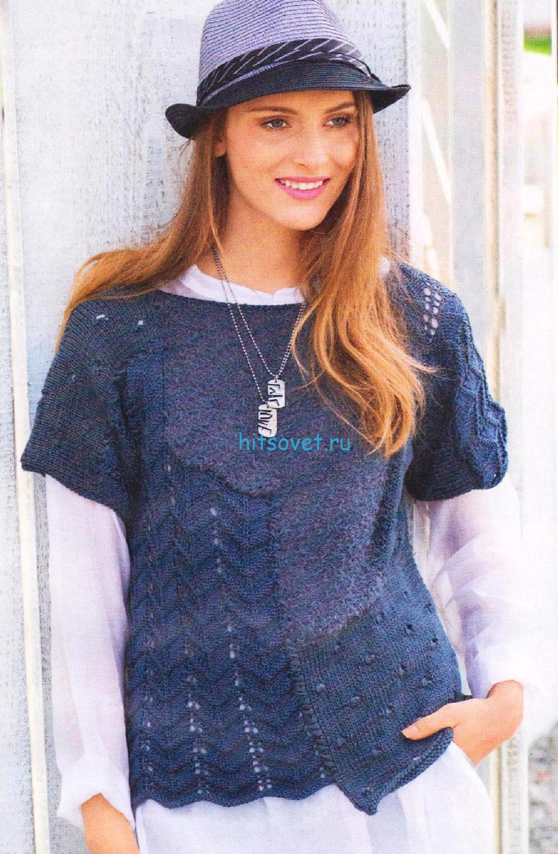 Вязание пуловера в стиле пэчворк