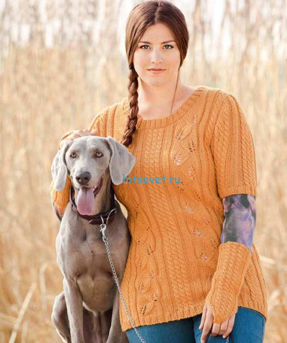 Вязание пуловера и нарукавников спицами