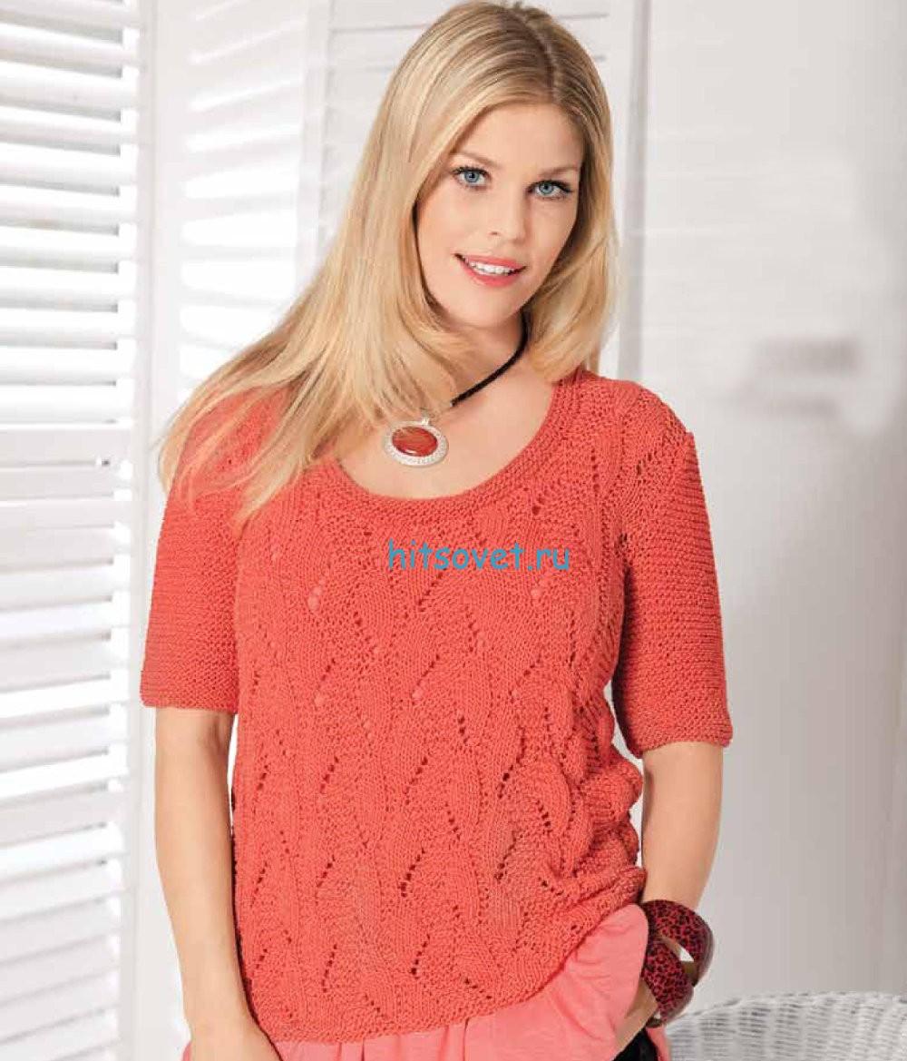 Вязание пуловера с фантазийным узором