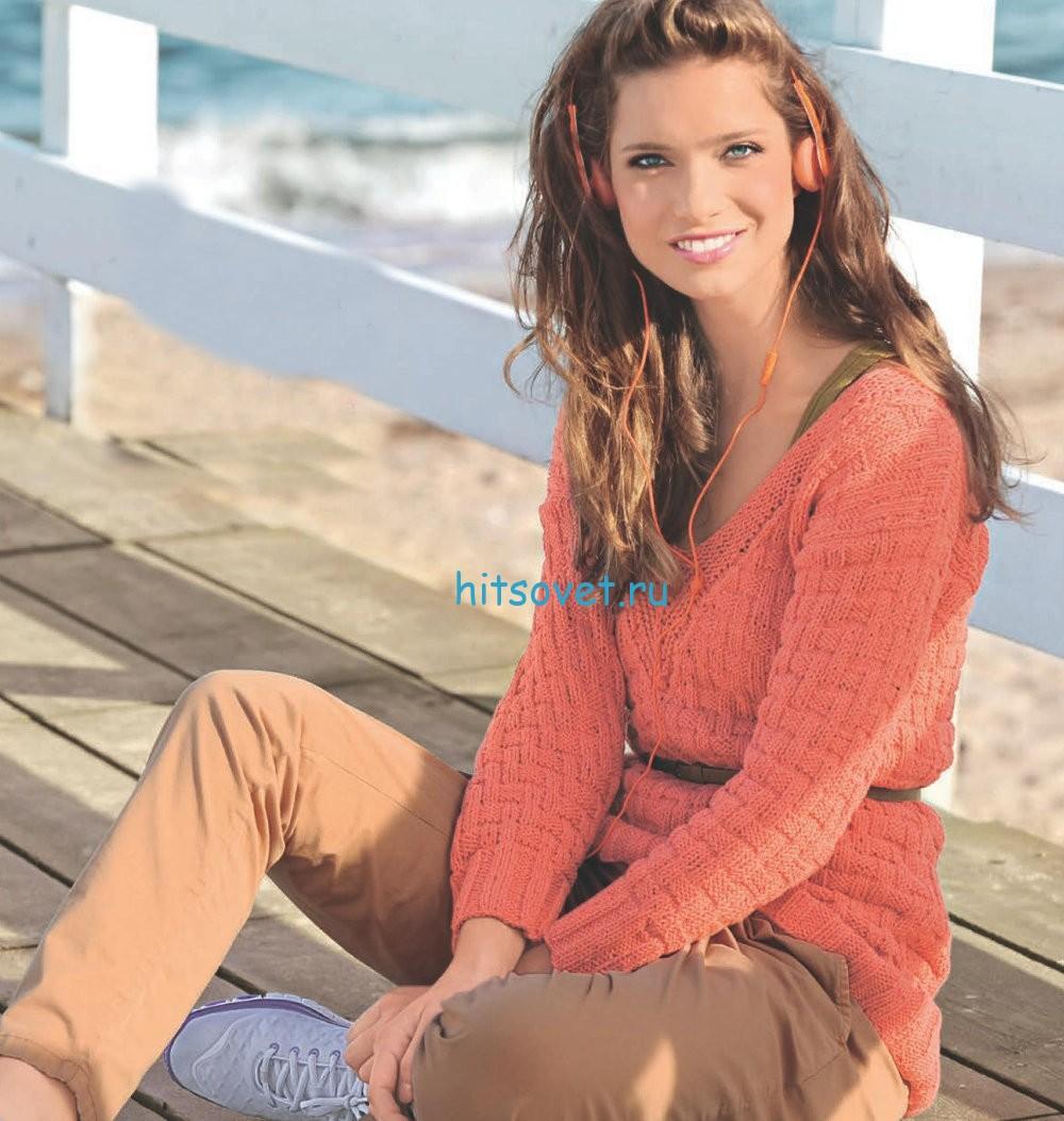 Вязание модного пуловера рельефным узором, фото.