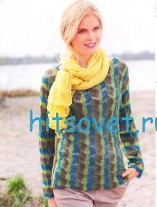 Полосатый пуловер спицами из пряжи Merino